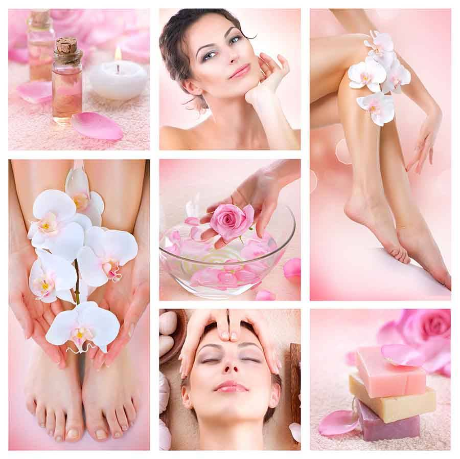 collage of beauty treatments